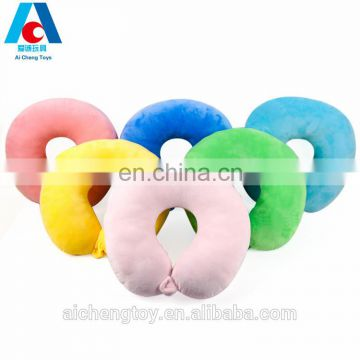 factory custom low price soft plush letter U shaped neck pillow can be buckled
