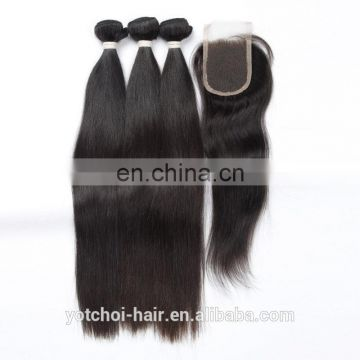 Raw Indian Human Hair Top Quality Virgin Lace Closures And Bundle