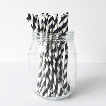Black And White Striped Paper Straws Biodegradable Compostable 6mm
