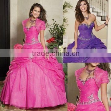 Hot!! free shipping short sleeve appliqued beaded pink custom-made ball gowns CWFab4382