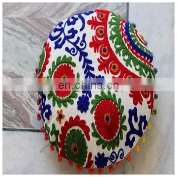 Flower Embroidered Suzani Round Cushion Cover Round Pillow Case 16''