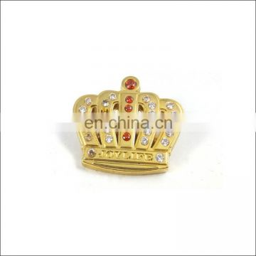 Custom crown metal pin badges with crystal for sale