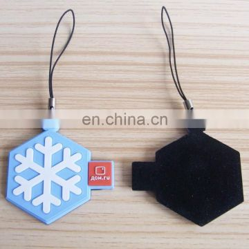 snowflake shape rubber pvc mobile phone screen cleaner