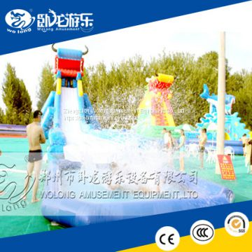 EN14960 giant used swimming pool slide inflatable hippo slide for ...