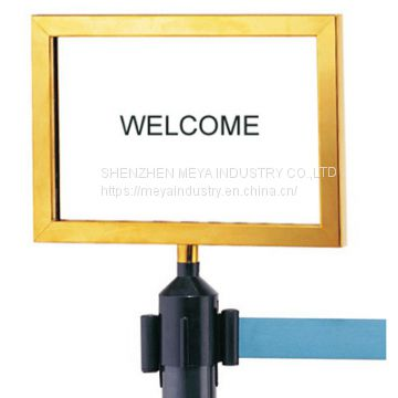 Stanchion Sign Holder for Chrome Stanchion with Metal Material