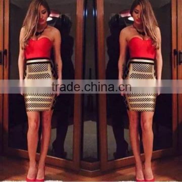 Brand new 2015 new style top quality yellow and gold red patchwork bodycon prom celebrity bandage dresses wholesale dropshipping