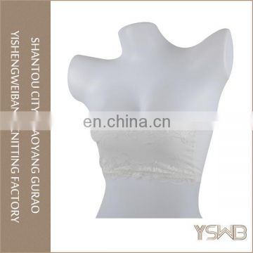 Women spandex breathable elastic white fashion lace tube bra