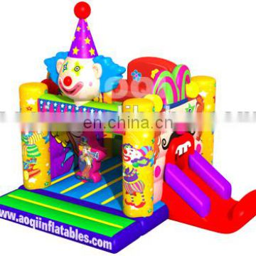 2015 new design cheerful clown inflatable combo with slide for kids