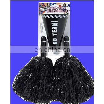 Black pp Cheerleading black Pom-Poms and Megaphone Set