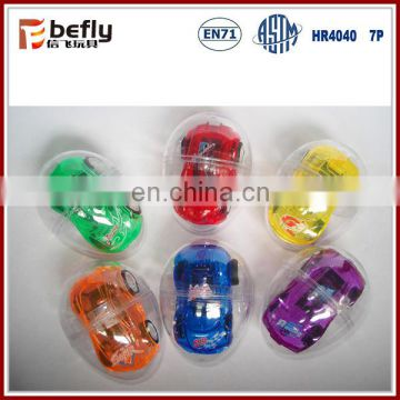 Pull back mini car plastic toy capsule for promotion