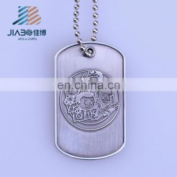 logo embossed blank custom metal dog tag with necklace