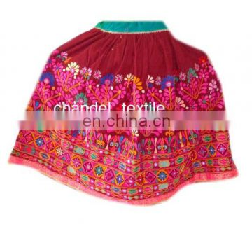 Banjara SkirtVINTAGE skirt rabari collectible banjara belly dance kuchi ethnic PINK color with multi color EMBROIDERY skirts