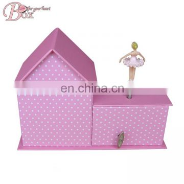 Hand Crank Cardboard House Shape Music Box