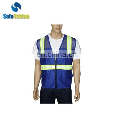 Quality-assured blue reflective safety vest