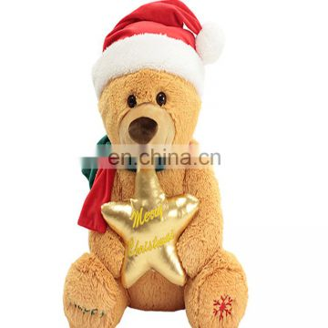 2017 hot sell christmas plush toys stuffed plush christmas decoration candy teddy bear toy