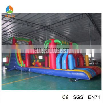 2015 Summer Mew Style Inflatable Funland With Jumping Bouncer And Slide