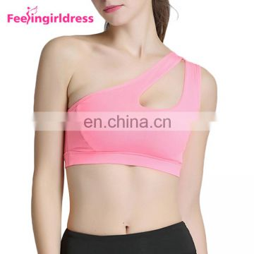 Breathable Solid Pink Padding Sports Crop Top Women Sport Bra Fitness