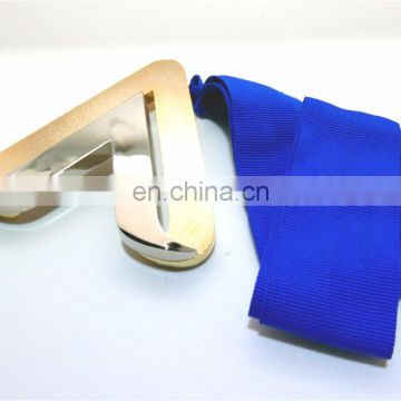 High Quality OEM Custom Design Unique Metal Medal Double Plating Gold Nickel Ribbon