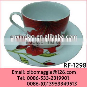 2016 Popular Beautiful Flower Design Promotion Porcelain Coffee Cup and Saucer for Coffee Set