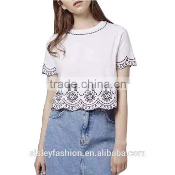women vintage floral embroidery cropped blouse short sleeve o neck elastic T shirt short casual blouse B036