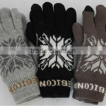 Acrylic Knitted Snowflake Pattern Double Layer Gloves