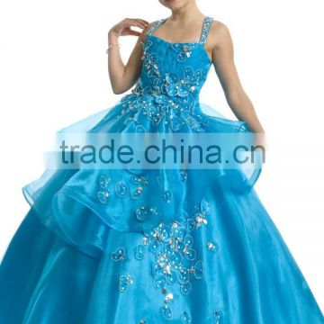 New arrival 2013 hot long girls ball gown blue pageant kid ball gown dresses CWFaf5280