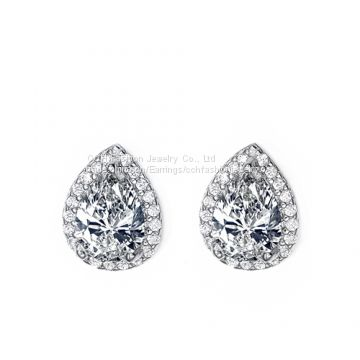 Teardrop CZ Stud Earrings