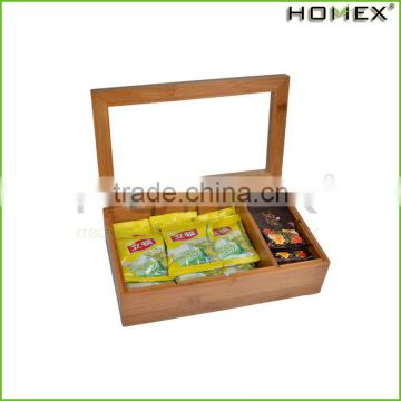 Flat Tea Box Bamboo, Handmade, All Natural Oil Finish, 8 Adjustable Compartments