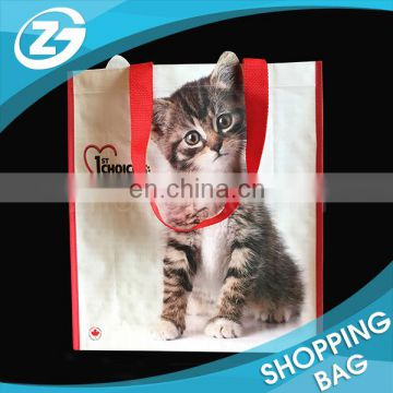 Cute Animal Full Colors Printed Custom Plastic Laminated PP WOVEN Promotion Cartoon Shopping Bag