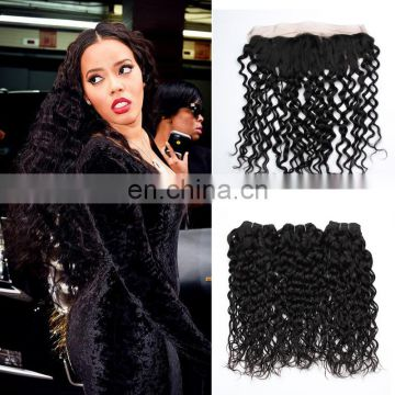 water wave hair frontal lace closure with bundles hair extension human