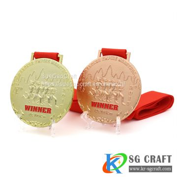 Factory Customized Enamel Metal Sports Medal with Custom Ribbon