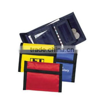 Promotional trifold binding coin pocket hook and loop polyester nylon wallet                                                                         Quality Choice