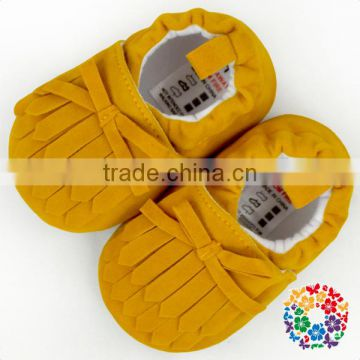 Size 11 12 13 Mustard Fringe Bow tied fancy Infant baby girls shoes