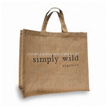 Generous capacity home jute market tote bag with durable handle