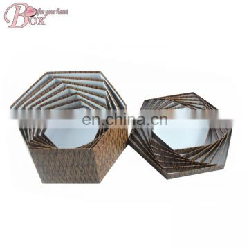 The most popular hexagonal retro woven bamboo decorative pattern storage box