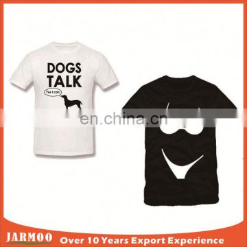 Logo printed on black healthy round neck t-shirts