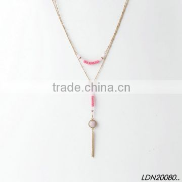 Double pendant Lt.Siam resin necklace with matching bracelet and earrings