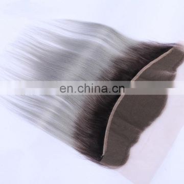 "Factory Wholesale Price Free Style 13*4"" Ombre Grey Color Silk Straight ear to ear lace frontal closure"
