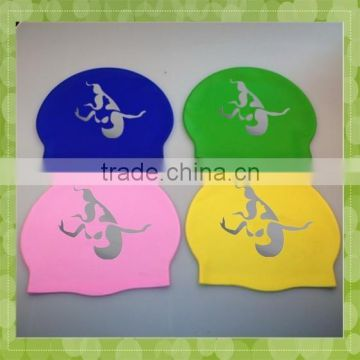 2015 hot sell customized printed soft silicone swimming cap