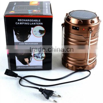 6 led camping lantern rechargeable solar power led camping lantern