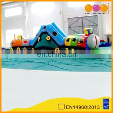 Newly design hot sale inflatable train playing tunnel for kids with free EN14960 certificate