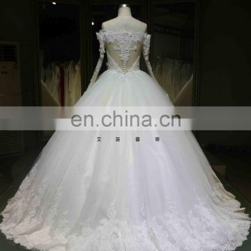 Latest Ball Gown Custom Made Long Sleeve Puffy Wedding Dress Lace Beading Bridal Dress Tiamero 1A946G