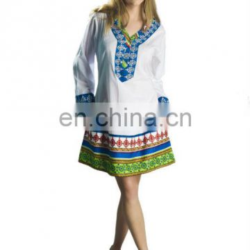 new arrival summer cotton tunic 2016 embroidery tunic wholesale india tunic very popular in europe
