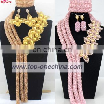 Customized coral bead jewelry set\Handmade jewelry set for wedding and party\Nigeria fashion necklace for lady