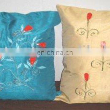 HAND EMBROIDERY SILK CUSHION COVER