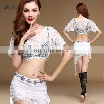 T-5144 Sexy lace 2pcs bellydance top and skirt costumes set