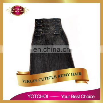 Best quality grade 7A double drawn no tangle no shedding indian clip in hair extensions free sample