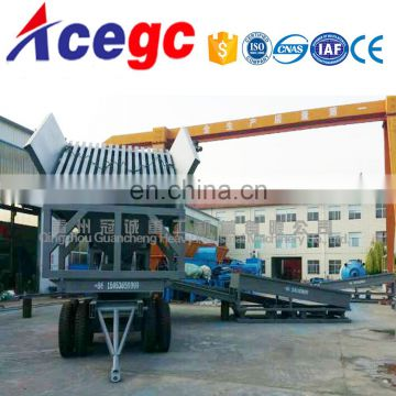 Mini Mobile gold mining washing plant with vibrating feeder