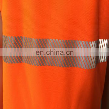 China Supplier High Light Embroidery Designs Polo Reflective Tape Custom Safety T-Shirt
