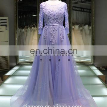 1A1046 Romantic Light Purple 3D Flowers Appliqued Beaded Long Sleeve Sash Back Open Bridesmaid Dress Prom Dress Evening Dress